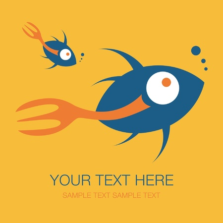 Fork tailed fish design with text space vector. Stock Vector - 10723499