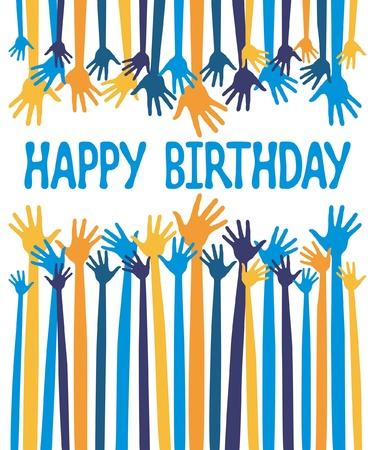 Happy birthday hands card design vector.