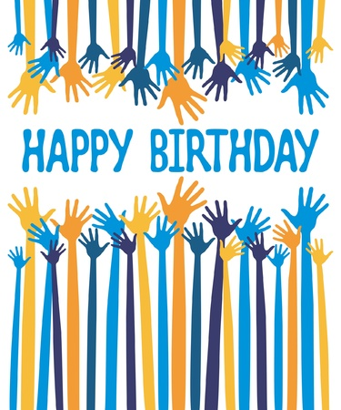 jubilation: Happy birthday hands card design vector.