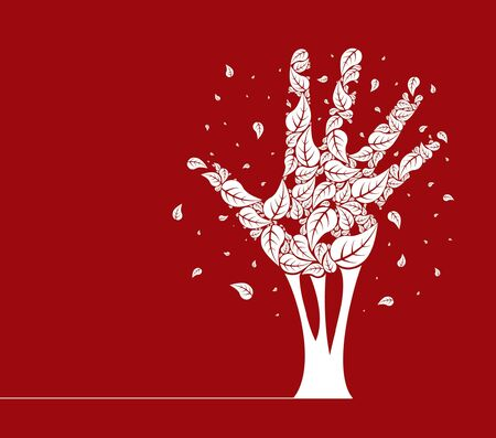 Leaves falling from a hand shaped tree vector design.  Vector