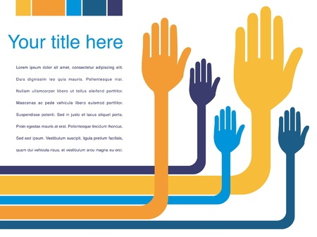 raised hand: Hand design with copy space vector.