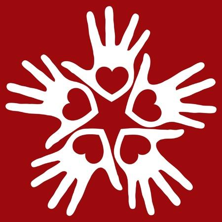 solidaridad: Manos amante de la diversión de diseño vectorial.