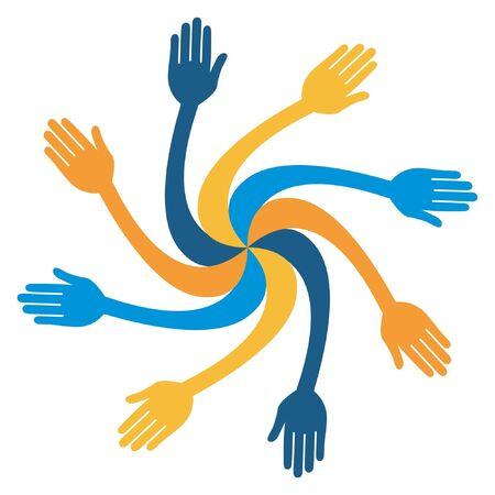 bent: Colorful hand vortex design.