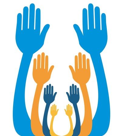 Handen reiken samen vector ontwerp.