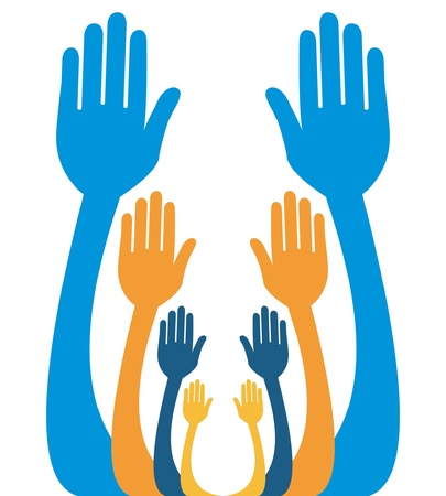 Hands reaching out together vector design.