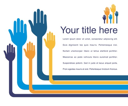 hands raised: Hand design with copy space vector.