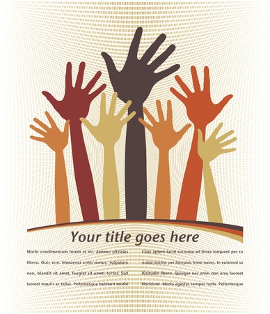 Large group of happy loving hands with copy space vector.