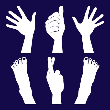 finger crossed: Hands and feet silhouettes .  Illustration