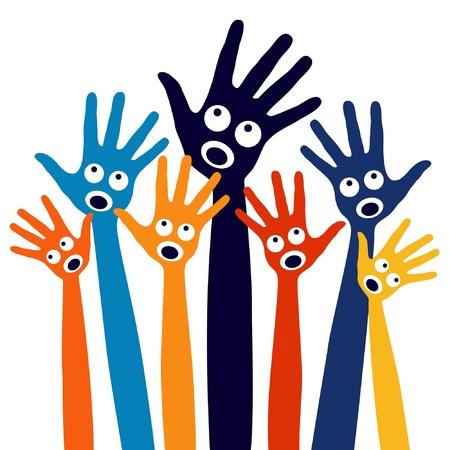 hangos: Örömteli éneklés emberek kezébe design. Illusztráció