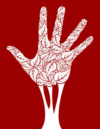 Hand tree design made from leaf shapes . Vector