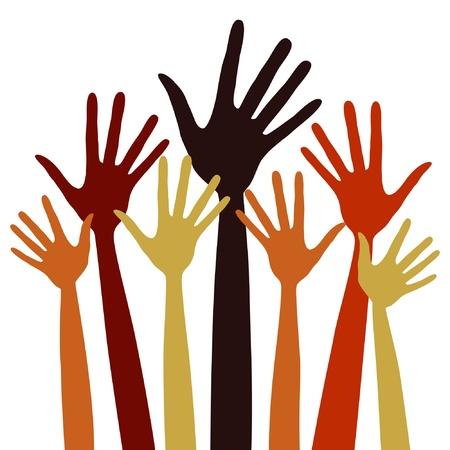 manos levantadas: Ilustración de manos largos dedos