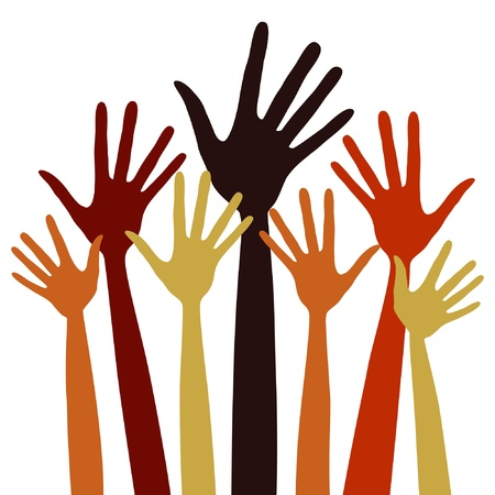 raised hand: Long fingered hands illustration  Illustration