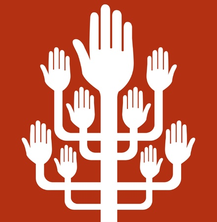 charity work: Working together hands design.