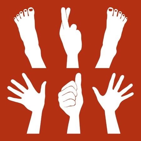 Handen en voeten silhouetten.