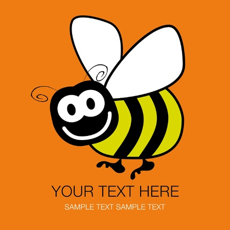 abeja caricatura: Bumble bee diseño con copia espacio. Vectores