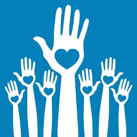 corazon en la mano: Me cuentan en el diseño de manos.  Vectores