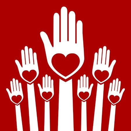 Hands united in love design.  Vector