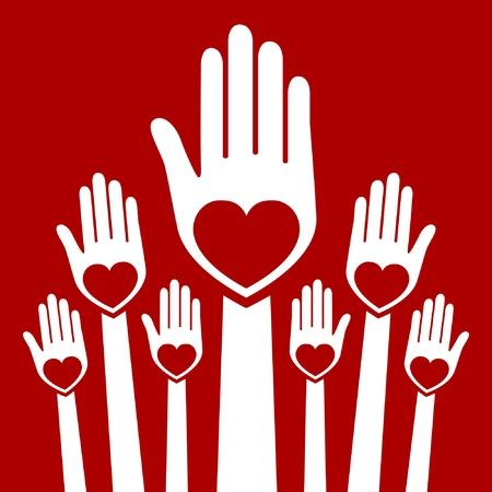 Hands united in love design.