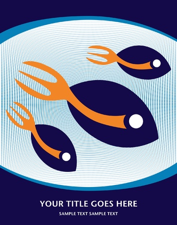 Stylized fork tailed fish design.  Vector