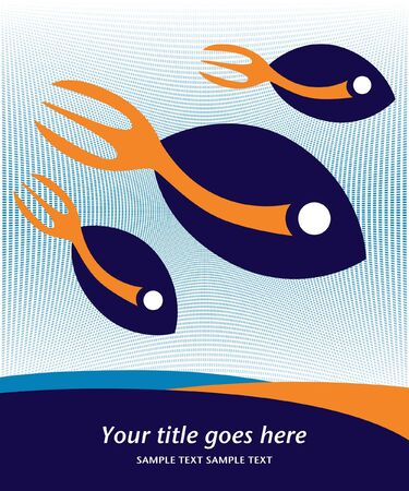 Stylized fork tailed fish design .  Vector