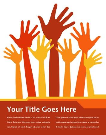 manos levantadas: Dise�o de manos feliz con espacio de copia.