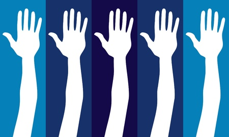 electing: Voting hands on blue design.  Illustration
