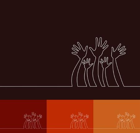 Eenvoudige lijn illustratie van handen design.