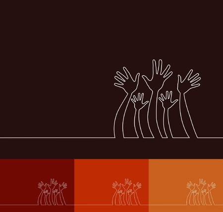 raising hand: Simple line illustration of hands design.  Illustration