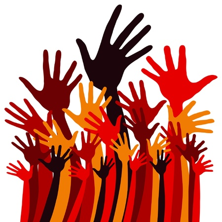 volunteering: Large group of happy hands design.  Illustration