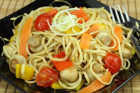 vegs: Stir-fry noodles with vegetables. Stock Photo