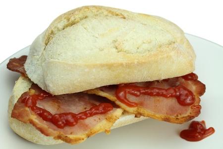 bap: Bacon roll and tomato ketchup.