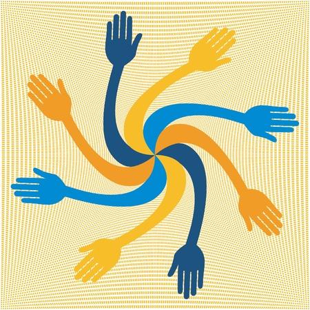 caring hands: Colorful hand vortex  Illustration