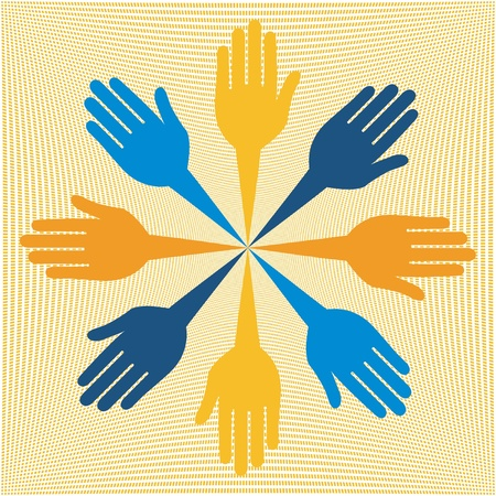 caring hands: Colorful hand design