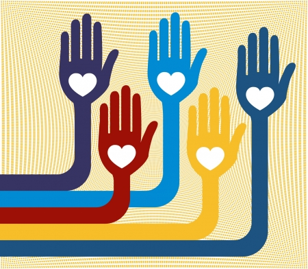 loving hands: A united group of loving hands