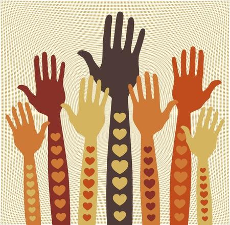 Caring or volunteering hands   Vector