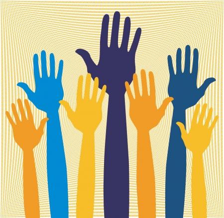volunteering: Hands volunteering or voting vector