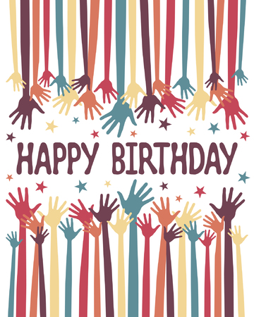 jubilation: Happy birthday hands    Illustration