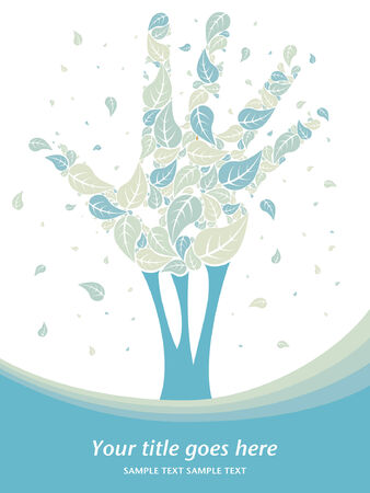 Leaves falling from a hand shaped tree with copy space   Vector