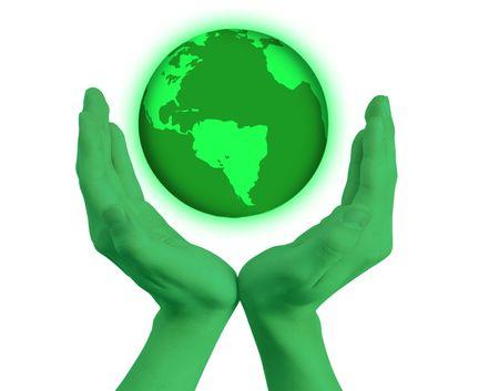 enviroment: Green hands holfing the world  Stock Photo