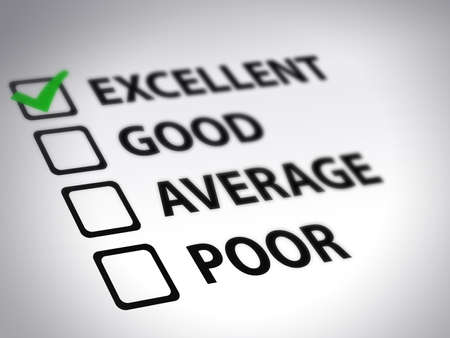 credit report: questionnaire - excellent Stock Photo