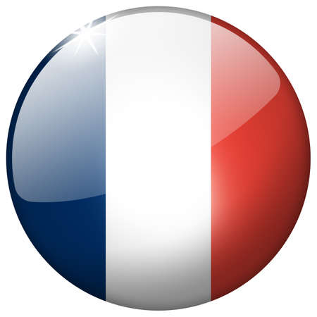 France Round Glass Button photo