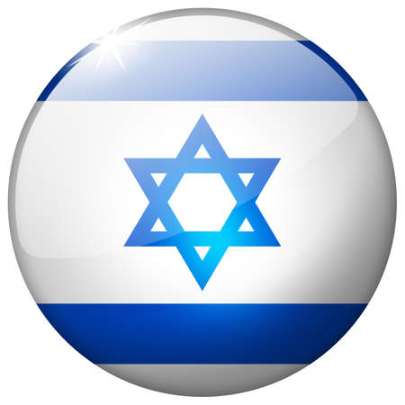 Israel Round Glass Button photo