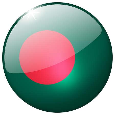 bangladesh 3d: Bangladesh Round Glass Button Stock Photo