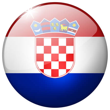 Croatia Round Glass Button photo