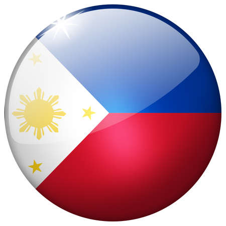 philippines flag: Philippines Round Glass Button