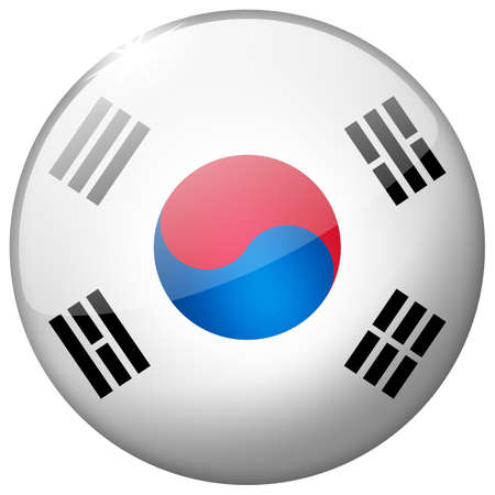 South Korea Round Glass Button