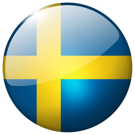 Sweden Round Glass Button photo