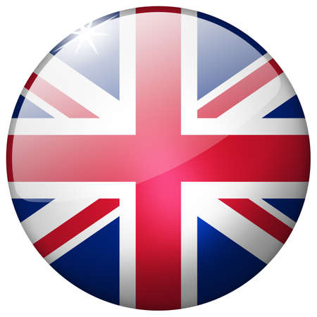 United Kingdom Round Glass Button photo