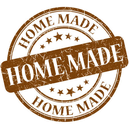 home made: Home Made Brown stamp Stock Photo