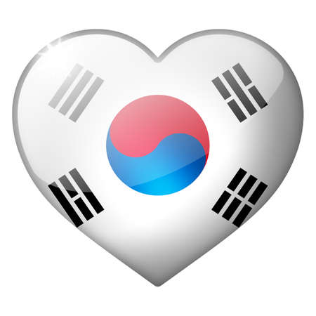 south korea heart button photo